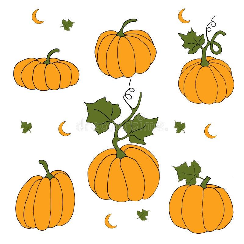 De herfstvakantie met oranje pompoen vector illustratie