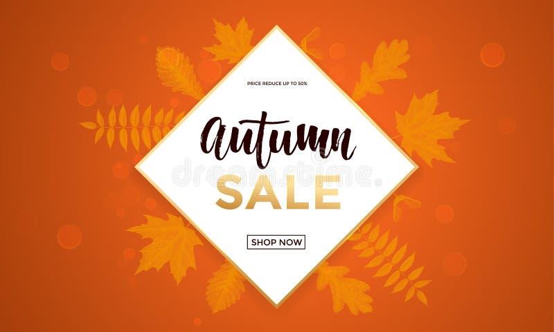 De herfstverkoop het winkelen van de de dalingsesdoorn van de kortings de vectoraffiche banner van het het bladweb royalty-vrije illustratie