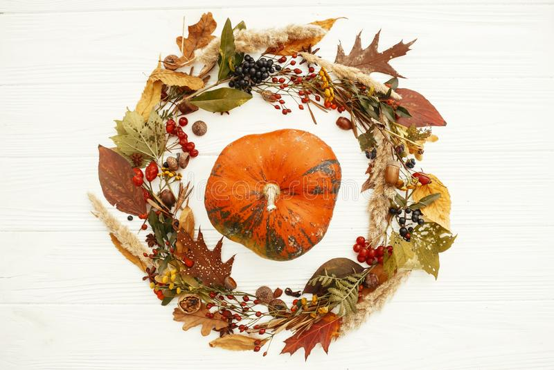 De de herfstvlakte lag Gelukkige Dankzegging Pompoen in mooie daling l royalty-vrije stock fotografie