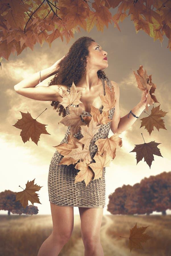 De herfstvrouw stock foto