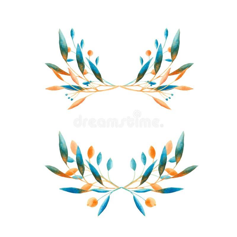 De herfstwaterverf met blauwe en oranje bladeren, paddestoelen, bessen wordt geplaatst die vector illustratie