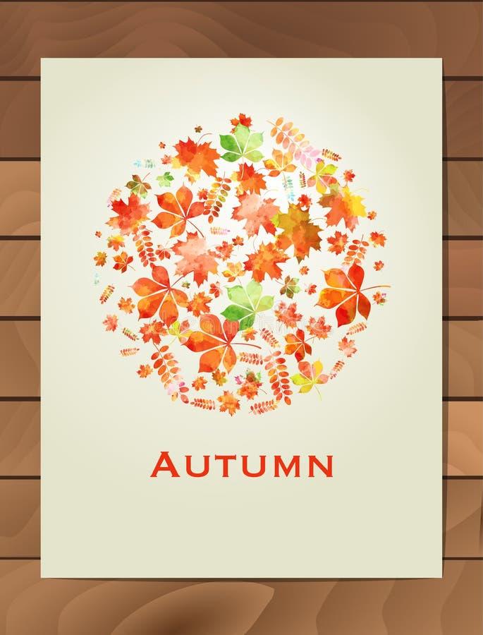 De herfstwaterverf om kader Kroon van de herfstbladeren Achtergrond met hand getrokken de herfstbladeren Val van de bladeren Sche stock illustratie