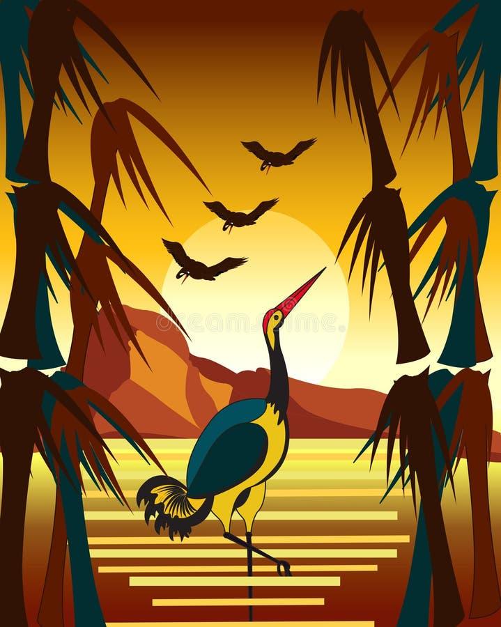 De herfstzeegezicht met kranen bij zonsondergang stock illustratie