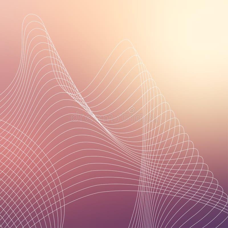 De herhaalde geometrische vector curvy textuur van het golvenpatroon op vage achtergrond stock illustratie