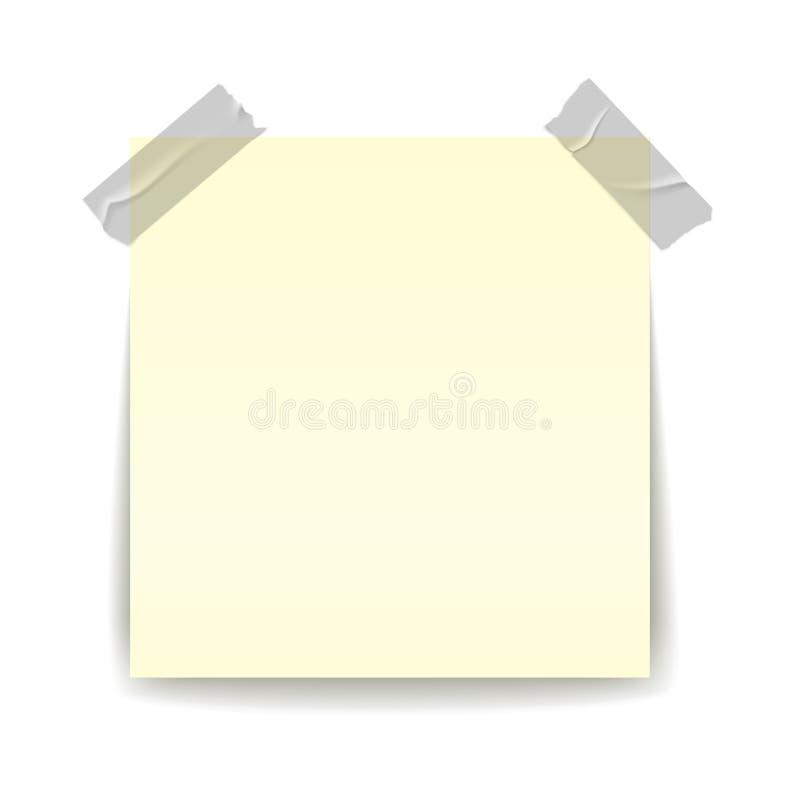 De herinnering van het document Schotse het stukstok van de banden transparante strook sellotape op gele belangrijke blad realist vector illustratie