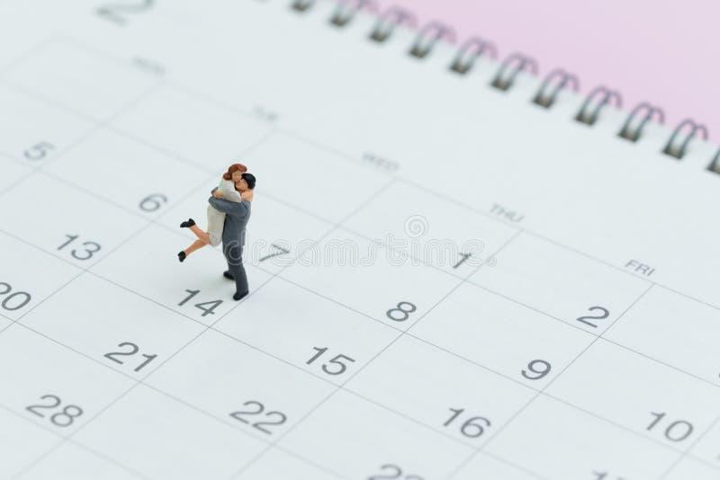 De herinnering van de valentijnskaartendag met mooi miniatuurpaar die zich bevinden royalty-vrije stock afbeeldingen