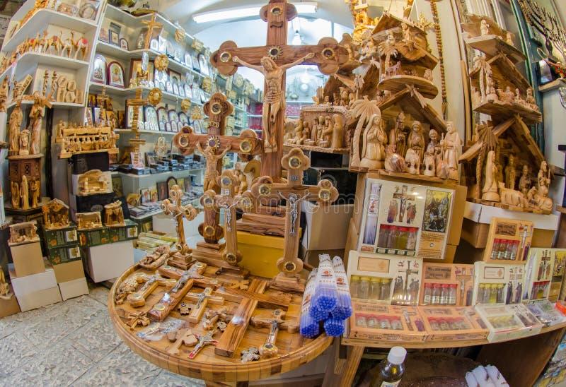 De herinneringswinkel in Jeruzalem via Dolorosa stock afbeeldingen