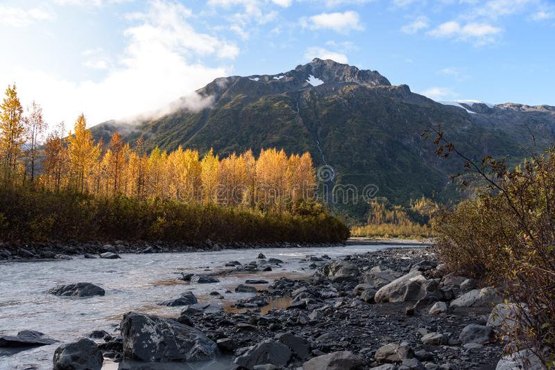 De herrijzenrivier bij Exit Glacier, Kenai Fjords National Park, Seward, Alaska, Verenigde Staten stock afbeelding