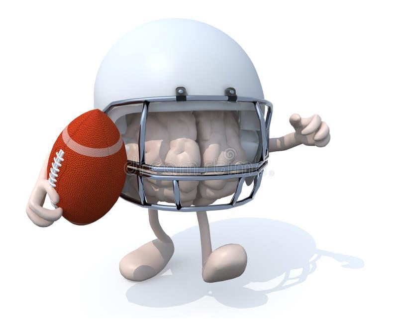 De hersenen dat rugby speelt stock illustratie