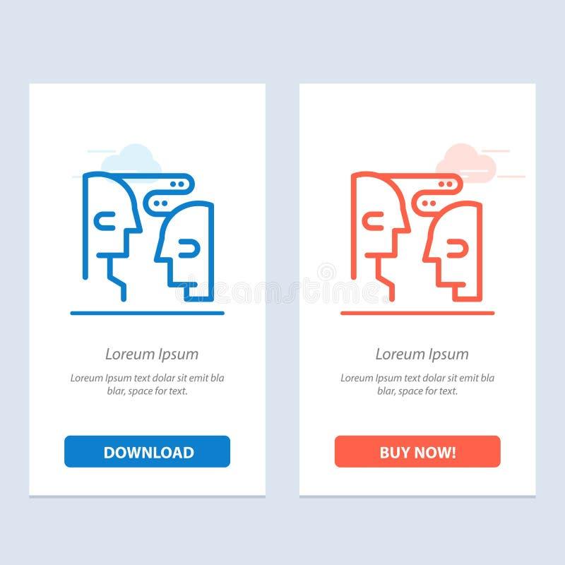 De hersenen, de Mededeling, de Mens, de Interactie Blauwe en Rode Download en kopen nu de Kaartmalplaatje van Webwidget vector illustratie