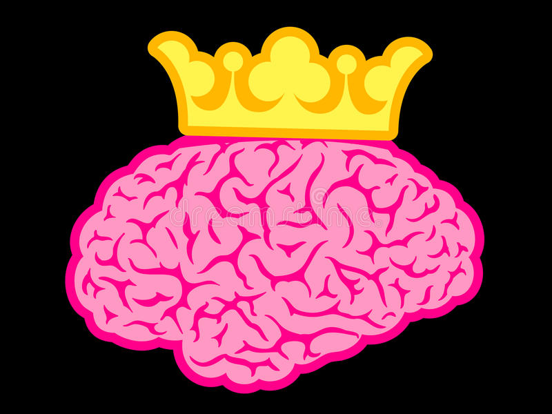 De hersenen van de koning met kroon stock illustratie