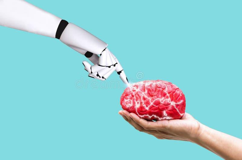 De hersenenconcept ai van de handrobot in bevelgeheugen op menselijke hand stock afbeeldingen