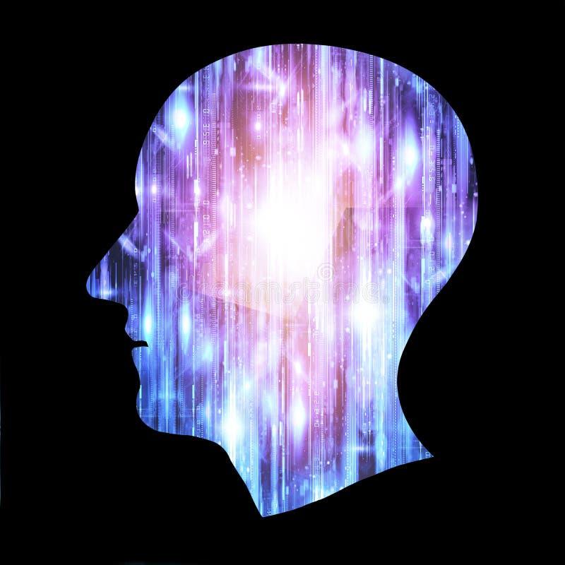De hersenenwerken, Kunstmatige intelligentie AI en High-tech Concept Menselijke en conceptuele cyberspace, slimme kunstmatige int stock illustratie