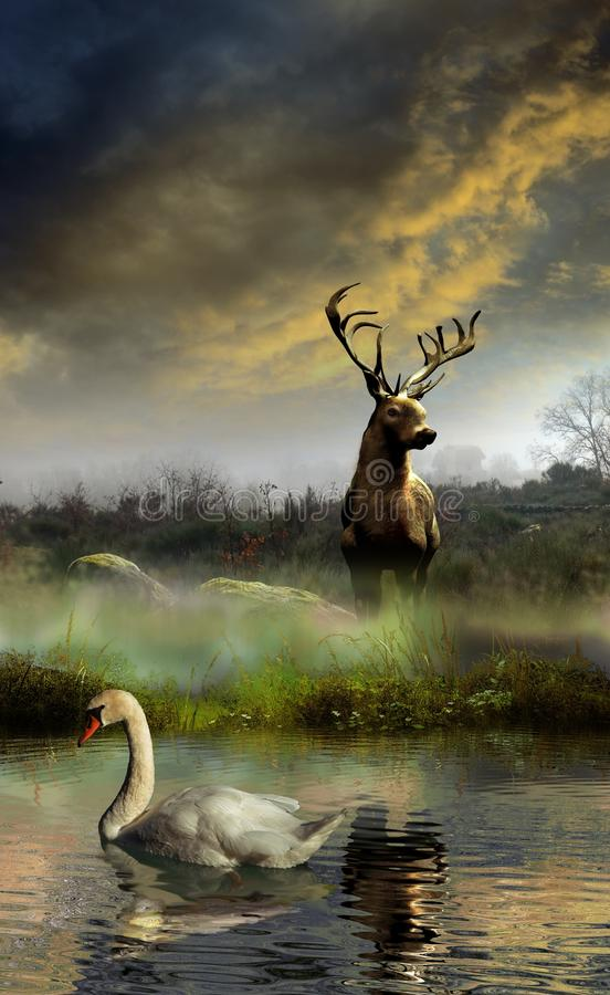 De herten en de zwaan vector illustratie
