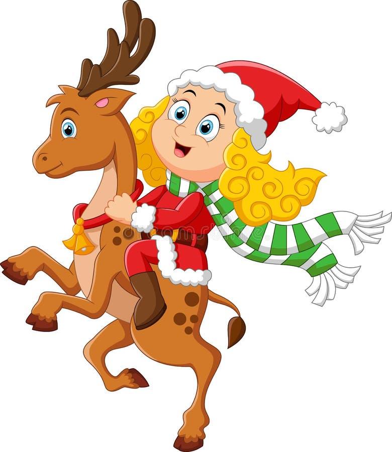 De herten van de meisjerit op Kerstmis royalty-vrije illustratie