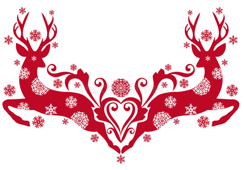 De herten van Kerstmis,   royalty-vrije illustratie