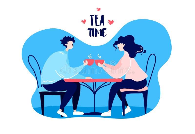 De het Artoonmeisje en kerel drinken thee bij de lijst in een koffie Romantische kaart stock illustratie
