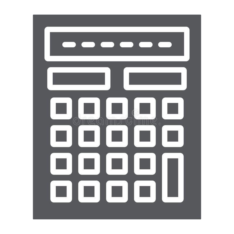 De de het calculator glyph pictogram, wiskunde en boekhouding, berekenen teken, vectorafbeeldingen, een stevig patroon op een wit stock illustratie