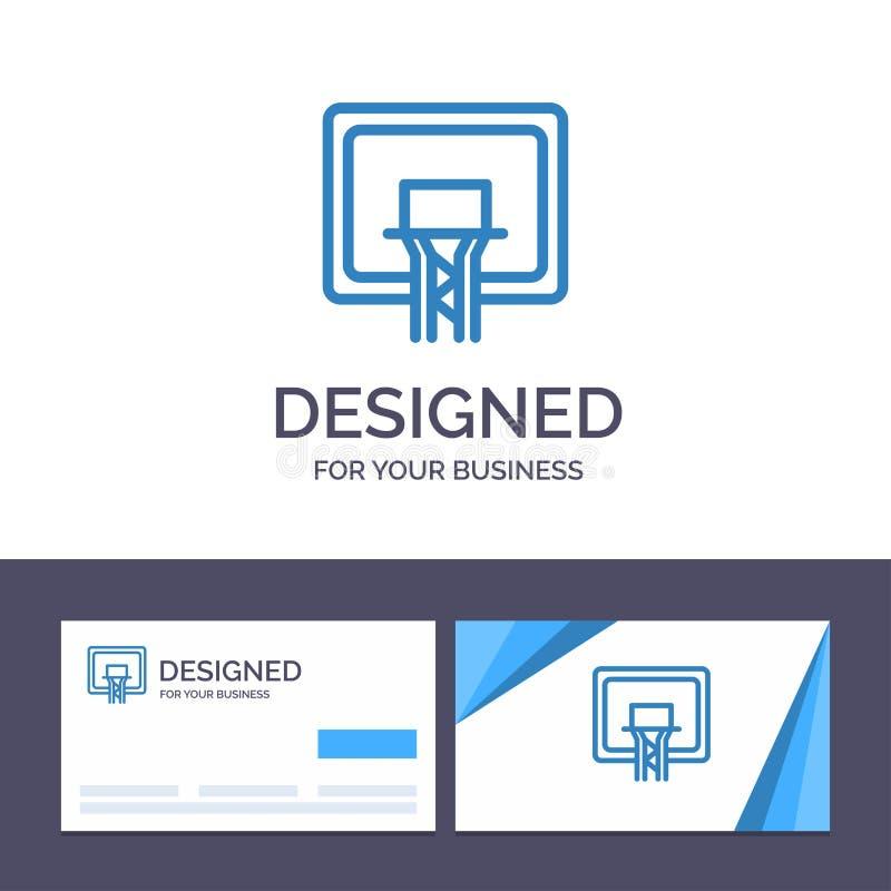 De het creatieve Visitekaartje en Rugplank van het Embleemmalplaatje, Mand, Basketbal, schepen Vectorillustratie in vector illustratie