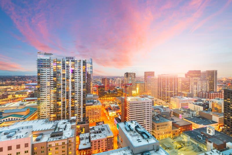 De het dakmening van de binnenstad van Denver, Colorado, cityscape van de V.S. stock foto