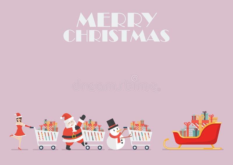 De het de Kerstmanmeisje en Sneeuwman van de Kerstman duwen een boodschappenwagentje aan sleig vector illustratie