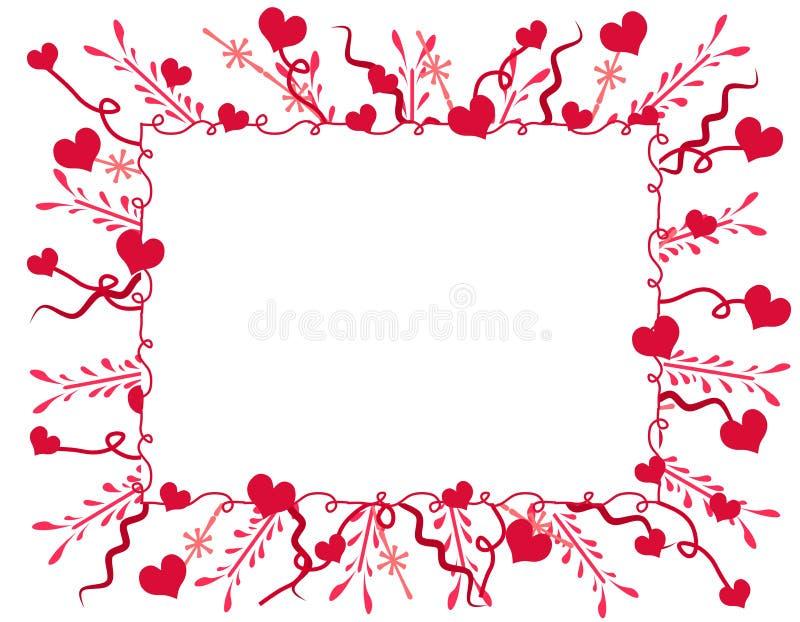 De het decoratieve Frame of Grens van de Harten van de Valentijnskaart vector illustratie