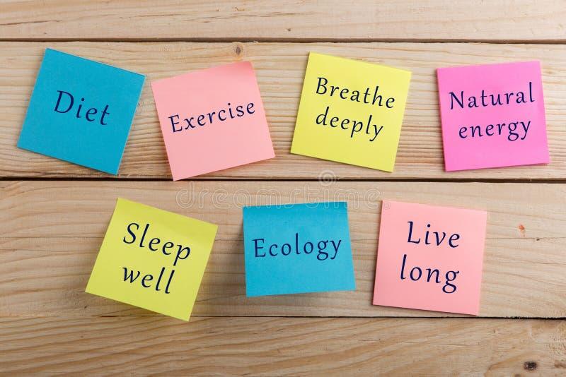 De het dieetplan en motivatie zijn gezond concept - velen kleurrijke kleverige nota met woordendieet, oefenen diep uit, ademen, n stock fotografie