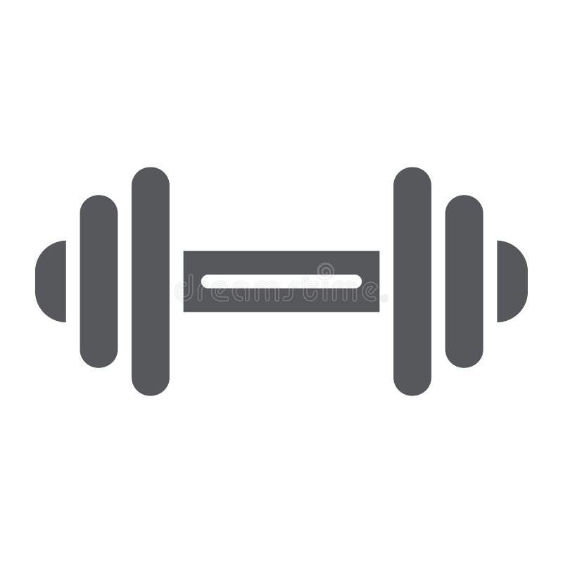 De de het domoor glyph pictogram, oefening en gymnastiek, barbell ondertekenen, vectorafbeeldingen, een stevig patroon op een wit vector illustratie