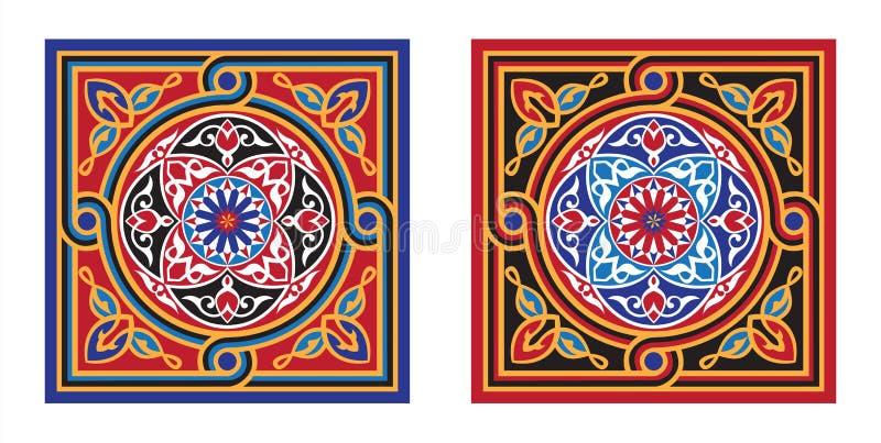 De het Egyptische 5-rood & Zwarte van het Patroon van de Stof van de Tent royalty-vrije illustratie