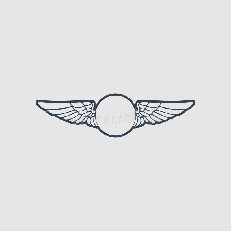 De het embleeminspiratie van het vleugelsmonogram royalty-vrije illustratie