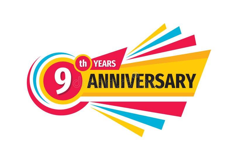 9de het embleemontwerp van de verjaardagsbanner Negen jaar van het verjaardagskenteken het embleem Abstracte geometrische affiche vector illustratie
