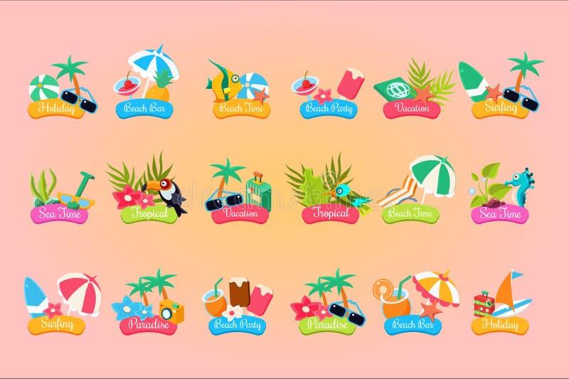 De het embleemsjabloonset van de de zomerreis, vakantie, paradijs, vakantie, strandtijd etiketteert vectorillustraties stock illustratie