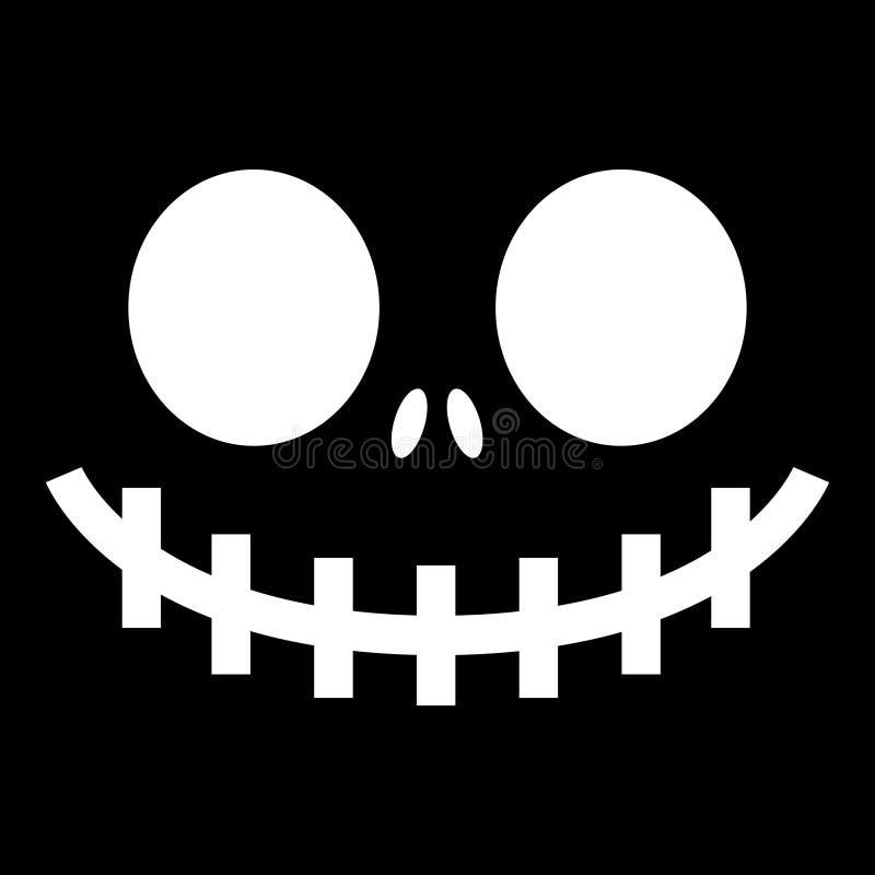 De het enge spook of pompoen van Halloween ziet ontwerp, het pictogram van de monstermond met griezelige ogen, neus en grote tand vector illustratie