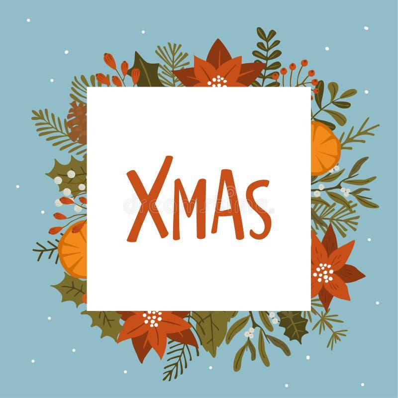 De het gebladerteinstallaties van de Kerstmiswinter, poinsettiabloemen verlaat takken, het rode malplaatje van het bessen vierkan royalty-vrije stock foto