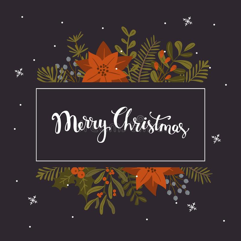 De het gebladerteinstallaties van de Kerstmiswinter, poinsettiabloemen verlaat takken, het rode malplaatje van het bessenkader ov stock afbeelding