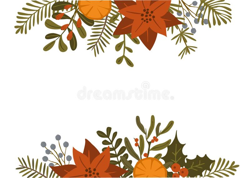 De het gebladerteinstallaties van de Kerstmiswinter, poinsettiabloemen verlaat takken, rood bessenkopbal en grensmalplaatje, geïs stock foto