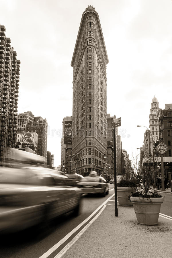 De het gebouw van het Strijkijzer en Stad van New York stock afbeeldingen