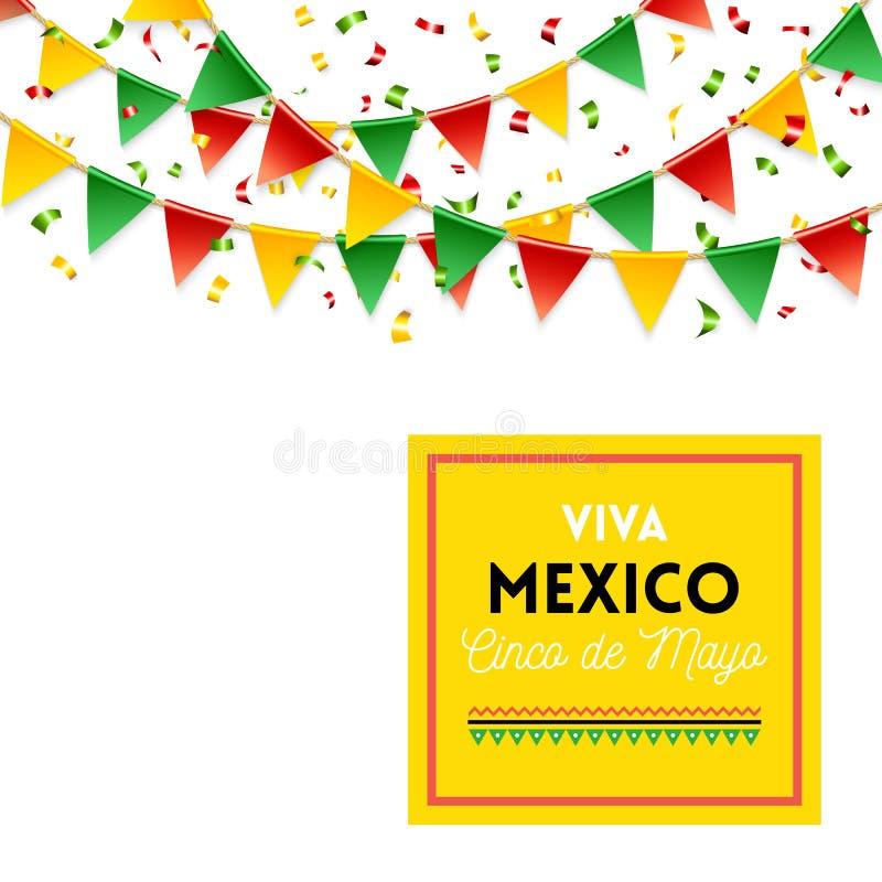 De het gele teken en vlaggen van Viva Mexico Cinco de Mayo royalty-vrije illustratie