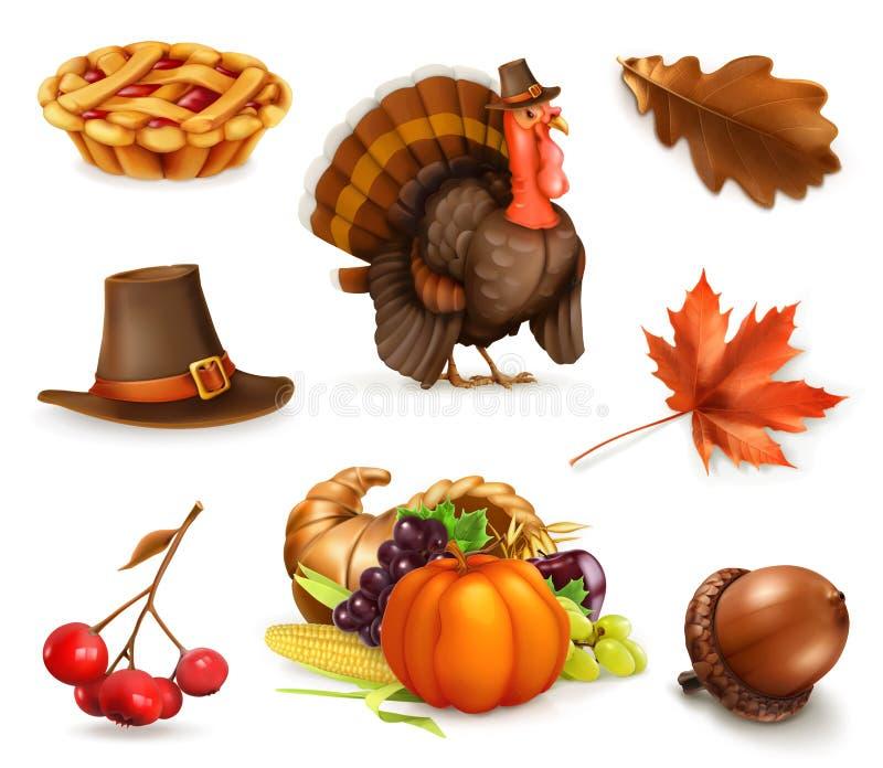 De het gelukkige karakter en voorwerpen van het Dankzeggingsbeeldverhaal Drie kleurenpictogrammen op kartonmarkeringen stock illustratie