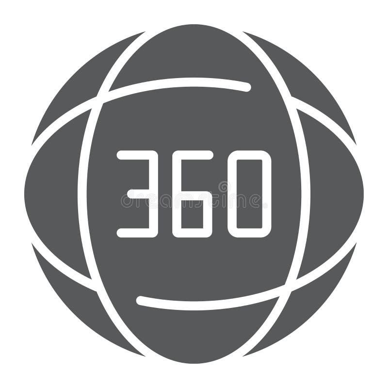 de de het 360 graad glyph pictogram, hoek en mening, roteren teken, vectorafbeeldingen, een stevig patroon op een witte achtergro vector illustratie