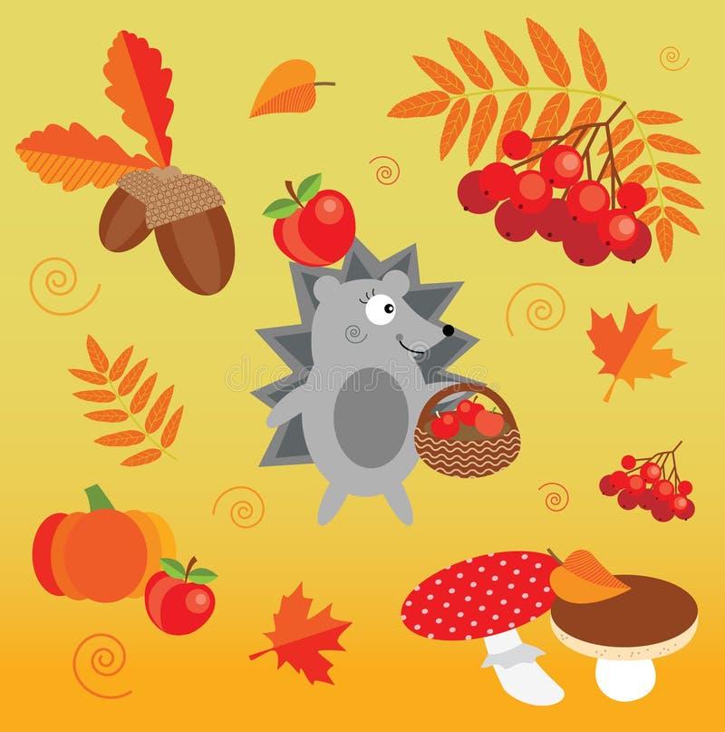 De het de herfstpictogram en voorwerpen plaatsen met leuke egel, paddestoelen, bladeren, pompoen, eikels en lijsterbes stock illustratie