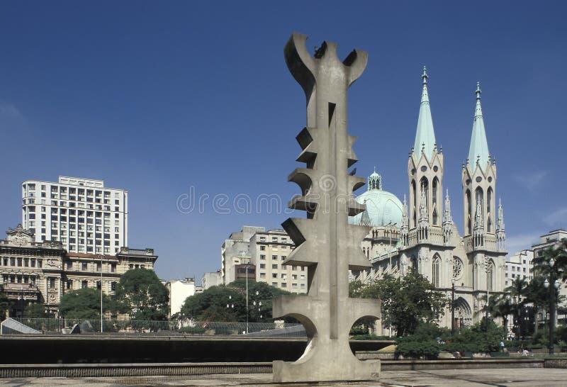 De het hoofdvierkant en kathedraal van Sao Paulo stock fotografie