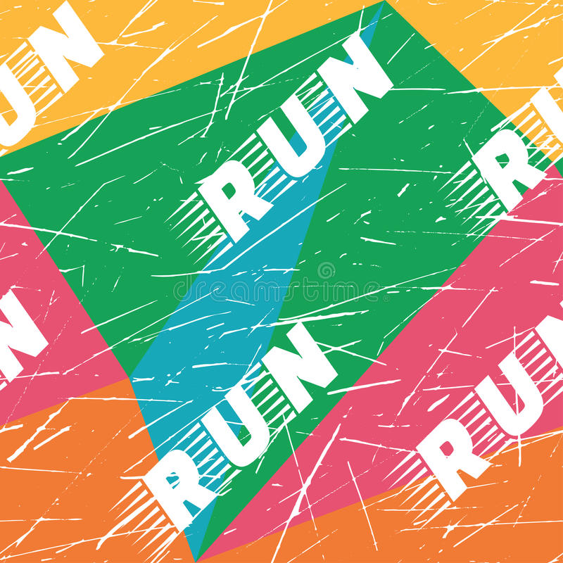 De het horizontale naadloze patroon of achtergrond van de Kinesioband De fitness stelt kleurrijke Gekraste elementen, sportetiket royalty-vrije illustratie