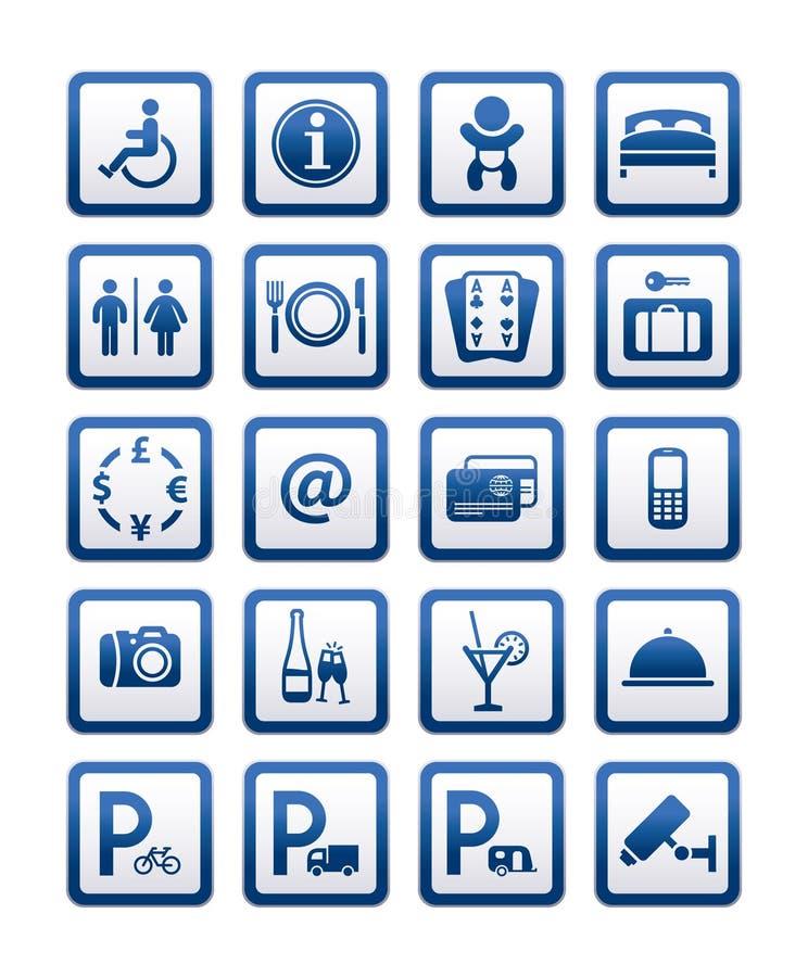 De het hoteldiensten van symbolen. Tekens geplaatst de moteldiensten royalty-vrije illustratie