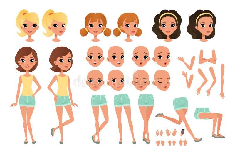 De het karakterverwezenlijking van het tienermeisje met diverse meningen wordt geplaatst, stelt, gezichtsemoties, handengebaren e stock illustratie
