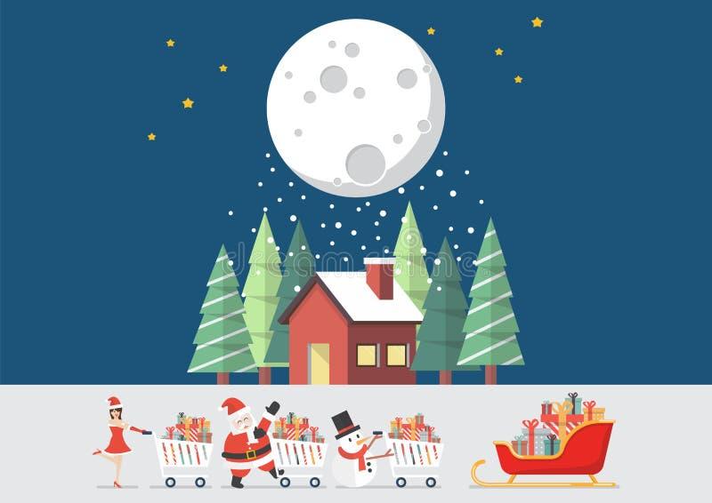 De het de Kerstmanmeisje en Sneeuwman van de Kerstman duwen een boodschappenwagentje stock illustratie
