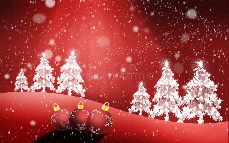 De het Kersttijdboom en licht die uit de hemel komen royalty-vrije illustratie