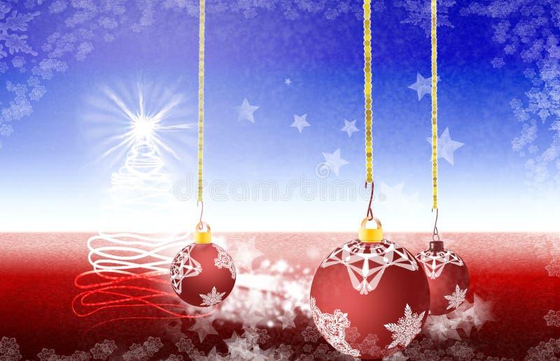 De het Kersttijdboom en licht die uit de hemel komen vector illustratie