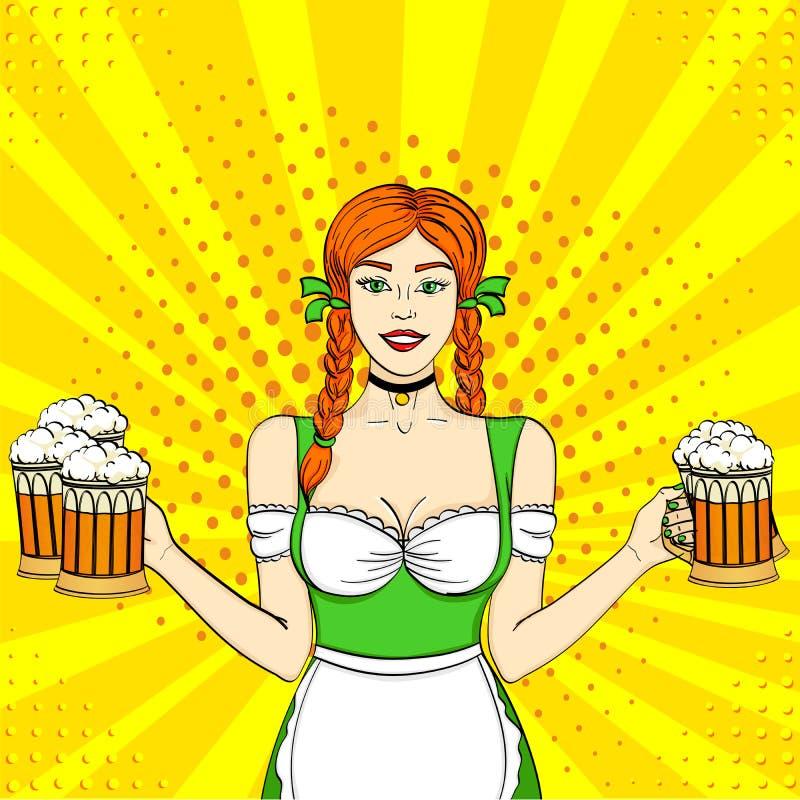 De het Meisjesserveerster van pop-artduitsland draagt vijf bierglazen De stijlimitatie van het concepten meest oktoberfest Grappi royalty-vrije illustratie