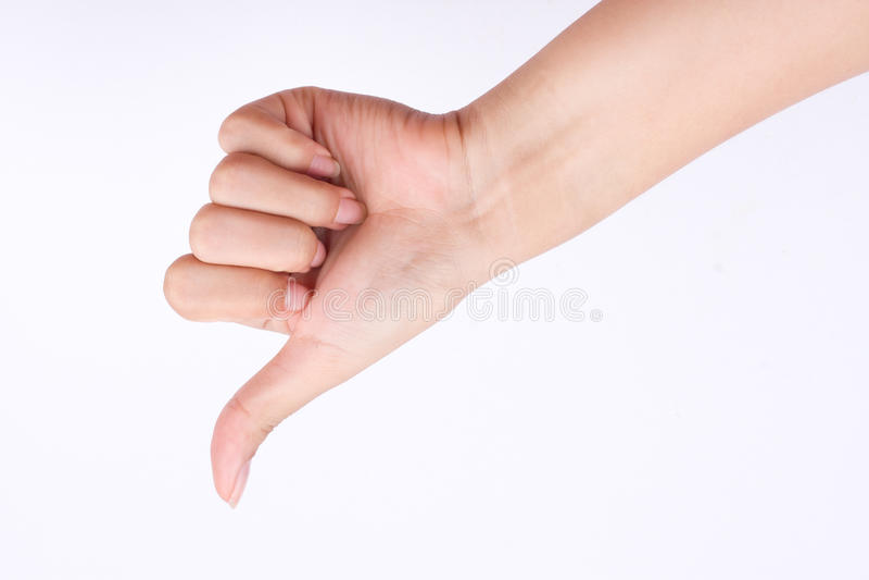 De het meisjessymbolen van de vingerhand de conceptenhand die duimen tonen verslaan en slechte afkeer op witte achtergrond stock afbeelding
